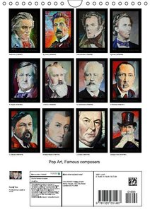 Pop Art Famous composers (Wall Calendar 2015 DIN A4 Portrait)
