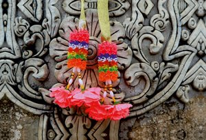 Premium Textil-Leinwand 75 cm x 50 cm quer Thailand, Tempelschmu