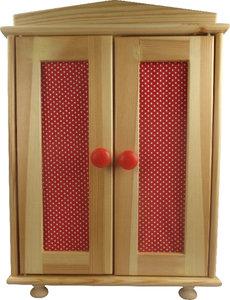 Puppen-Holzkleiderschrank rot/weiß