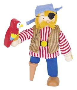Goki 51618 - Biegepuppe Pirat mit Papagei