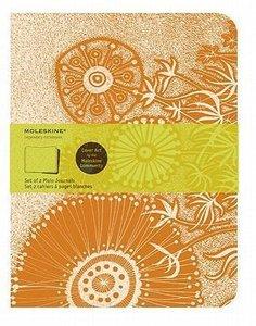 Moleskine Cover Art Flower Fantasy. Set of 2 Plain Journals
