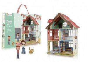 Puzzle 3D Puppenhaus zum aufbauen mit Figuren