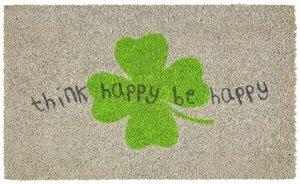 Think happy, Fussmatte, grau/grün