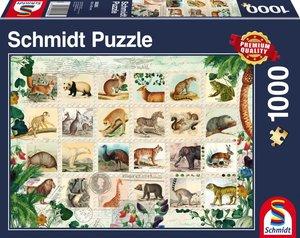 Tierische Briefmarken, 1.000 Teile Puzzle
