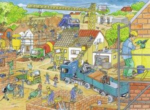 Handwerker beim Hausbau. Puzzle 100 Teile XXL