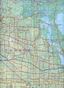 USA Canada Border Travel Map 1 : 2 500 000