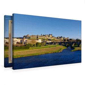 Premium Textil-Leinwand 75 cm x 50 cm quer Cité de Carcassonne