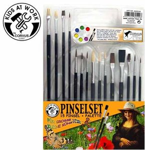 Corvus A600549 - Kids at work: Pinselset, 15 Pinsel, Pinselpalet