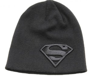 Superman Mütze Beanie Black Logo (Einheitsgröße)
