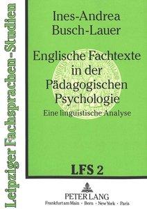 Englische Fachtexte in der Pädagogischen Psychologie