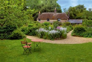 Premium Textil-Leinwand 90 cm x 60 cm quer Thomas Hardy Cottage