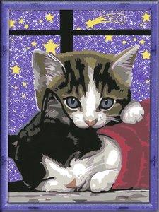 Kuschelndes Kätzchen mit Rahmen. Malen nach Zahlen Serie D Roman