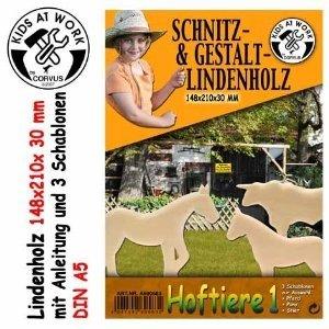 Corvus A600583 - Schnitzholz A5, Hoftiere, Lindenholz