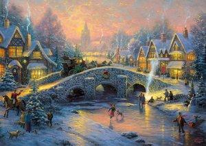 Schmidt Spiele 58450 - Thomas Kinkade: Winterliches Dorf, Puzzle