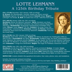 Lotte Lehmann - 125th Birthday Tribute