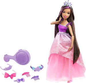 Barbie Zauberhaar-Prinzessin Brünett, groß
