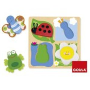 Goula D53012 - Holzpuzzle Garten mit Stoff, 4-teilig