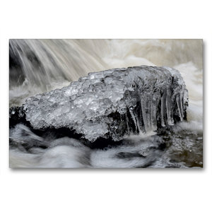Premium Textil-Leinwand 90 cm x 60 cm quer Eiskristalle