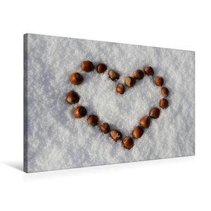 Premium Textil-Leinwand 75 cm x 50 cm quer Haselnuß-Herz