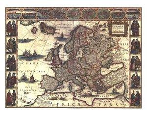 Blaeu's Map of Europe von 1620 (Digitaldruck)