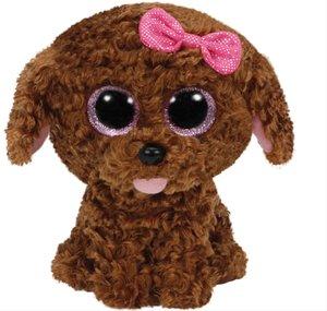 Maddie - Hund braun m. Schleife, 24cm