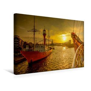 Premium Textil-Leinwand 45 cm x 30 cm quer Feuerschiff Weser am