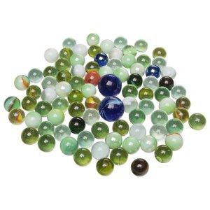 Goki 63926 - Glasmurmeln, 88 Stück im Netz, Farb- und Größen-Mix