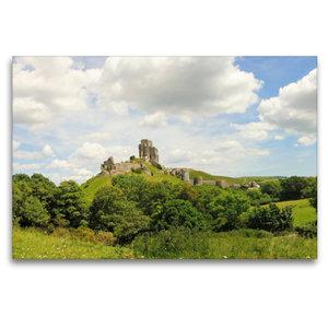 Premium Textil-Leinwand 120 cm x 80 cm quer Corfe Castle Dorset