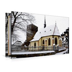 Premium Textil-Leinwand 120 cm x 80 cm quer Charmante Dorfkapell