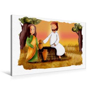 Premium Textil-Leinwand 90 cm x 60 cm quer Jesus bittet Samarite