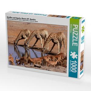 CALVENDO Puzzle Giraffen und Impalla, Etosha NP, Namibia 1000 Te