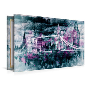 Premium Textil-Leinwand 120 cm x 80 cm quer LONDON Collage