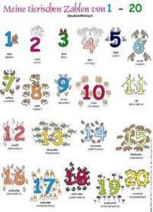 Meine tierischen Zahlen von 1-20. Poster. Deutsch /Polnisch