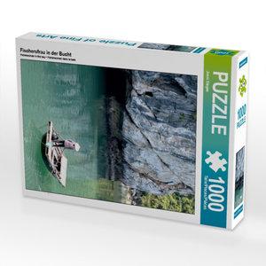Fischersfrau in der Bucht 1000 Teile Puzzle hoch