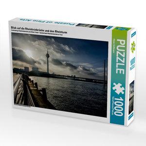 Blick auf die Rheinkniebrücke und den Rheinturm 1000 Teile Puzzl