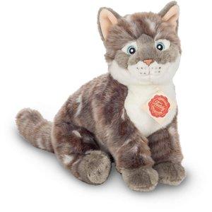 Teddy Hermann 91828 - Katze sitzend grau getigert, 24 cm, Plüsch
