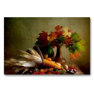 Premium Textil-Leinwand 90 cm x 60 cm quer Herbstliches Stillleb