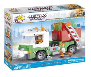 COBI 1781 - ACTION TOWN, Garbage Truck mit Roll-Off Dumpster, Co