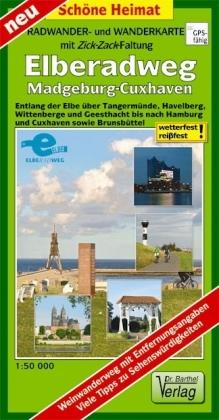Radwander- und Wanderkarte mit Zick-Zack-Faltung Elberadweg, Mag - zum Schließen ins Bild klicken