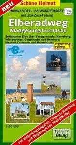 Radwander- und Wanderkarte mit Zick-Zack-Faltung Elberadweg, Mag