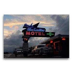 Premium Textil-Leinwand 75 cm x 50 cm quer Blue Swallow Motel, T