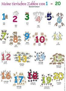 Meine tierischen Zahlen von 1-20. Poster Deutsch / Türkisch