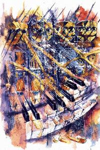 Premium Textil-Leinwand 60 cm x 90 cm hoch Piano in Jazz