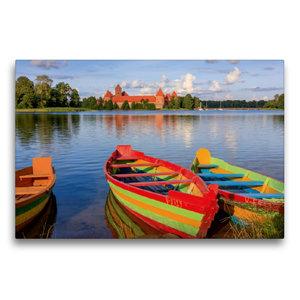 Premium Textil-Leinwand 75 cm x 50 cm quer Litauen - Wasserburg