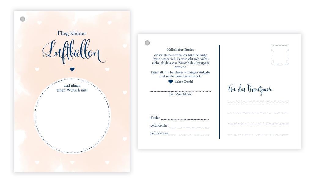 Flugkarten guter Wunsch fürs Brautpaar 50 50 Karten Ballonkarten