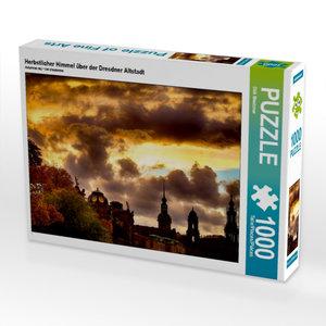 Herbstlicher Himmel über der Dresdner Altstadt 1000 Teile Puzzle