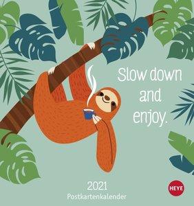Faultier Postkartenkalender Kalender 2021