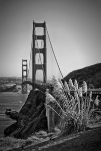 Premium Textil-Leinwand 60 cm x 90 cm hoch SAN FRANCISCO Golden