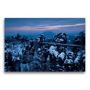Premium Textil-Leinwand 75 cm x 50 cm quer Winter an der Bastei