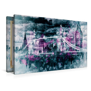 Premium Textil-Leinwand 90 cm x 60 cm quer LONDON Collage